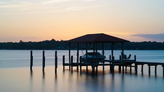 Good Night (+Lonnie & Lou+) Tags: nature sunset sunrise travel florida jacksonville river water creek a7r sony tennant sky clouds blue nisi longexposure orange home usa pier dock boat