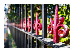 Gates to the Temple (red stilletto) Tags: winter red fence temple angle bokeh chinese chinesetemple southmelbourne theseeyuptemple