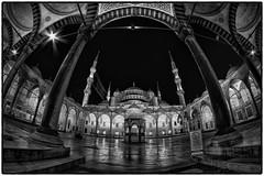 Blue Mosque @ night (Sean X. Liu) Tags: mosque bluemosque sultanahmedmosque nightphotography blackandwhite blackwhite monochrome fisheye distrotion framing istanbul turkey architecture longexposure