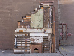 A Bigger Mousetrap (BradPerkins) Tags: chicago chicagoist crap mousehouse mousetrap odd paint pilsen sidewalkart streetart structure ugly urbanexploration urbanlandscape useless weird wood building