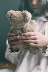 (Rebecca812) Tags: portrait girl childhood vintage toy holding hands child antique nostalgia growth teddybear brunette nightgown lowangle brownhair rebecca812