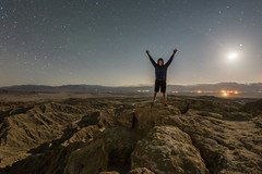 Self-portrait at Fonts Point at night (slworking2) Tags: california statepark night point unitedstates desert nighttime moonlight badlands anzaborrego fonts anzaborregodesertstatepark
