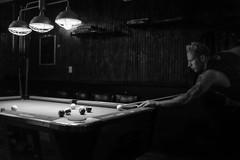 Cobra Club, Bushwick (Pine Ear) Tags: new york nyc portrait bw male pool monochrome brooklyn bar club night candid tattoos fujifilm gothamist bushwick x100s