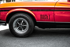 Mustang Mach 1 (relishedmonkey) Tags: auto red colour ford lines car 35mm circle nikon dubai wheels uae vehicle mustang radial selective mach1 orangle 18g d5300 emiratesclassiccarshow