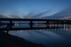 Nijmegen evening walk (stevefge (away travelling)) Tags: blue sky cloud netherlands night nijmegen reflections evening nederland bridges reflectyourworld