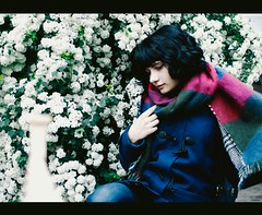 Film (bikutori) Tags: flowers blue white selfportrait cold green film girl beautiful scarf canon spring lomo outdoor hipster sigma sheets whitebackground blackhair selfie 30mm 500d canon500d sigma30mm youngphotographer crossproccesing