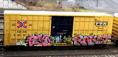 esko - raket TMS (timetomakethepasta) Tags: esko raket tms freight train graffiti ttx boxcar fbox link oniks