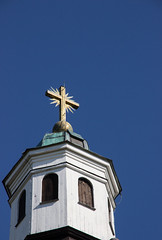 Churchtower, Vreta kloster (Yvonne L Sweden) Tags: church spring cross sweden may bluesky churchtower linkping vr kors vretakloster