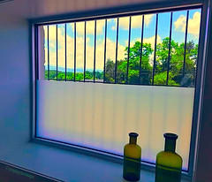 Bathroom With a View (creepingvinesimages) Tags: blue sky mountains window colors clouds bathroom virginia view bottles samsung galaxy topaz s7 restyle hww ruckersville pse14 jacksshopkitchen