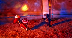 Duel of the Captains (BrickSev) Tags: fiction america toy toys photography book fight comic lego pirates indoor books battle super science disney pirate captain hero comicbook superhero scifi comicbooks sciencefiction heroes hook superheroes marvel universe villain cinematic captainamerica tabletop captainhook crossover minifigure toyphotography marvelsuperheroes minfigures legophotography disneyseries legosuperheroes marvelcinematicuniverse