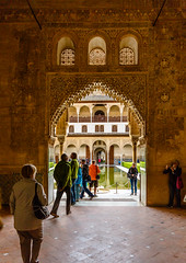 The Alhambra, Granada - Palacios Nazares - Palacio de Comares - Patio de los Arrayanes (Court of the Myrtles), looking south from Sala de la Barca in Torre de Comares (peripathetic) Tags: building beauty architecture canon buildings spain worldheritagesite espana alhambra moorish granada 5d palaces 2016 nasrid nazaries 5dmkiii 5dmk3 canoneos5dmk3