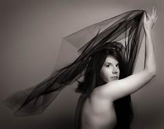 Wind and Light (kate.millerwilson) Tags: blackandwhite woman selfportrait fan tulle strobist