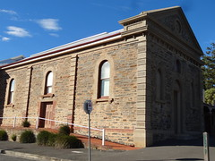 Port Elliot. The bluestone Institute building with the Greek classical style facade with a triangular pediment. Built in 1880. (denisbin) Tags: church hotel postoffice institute southcoast anglican councilchamber portelliot