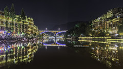 Feng Huang at night, the most famous ancient town in Hunan province, China. (Alongkot.S) Tags: ancient architecture asia asian building china chinese construction culture feng fenghuang historic house huang hunan landscape night old oriental province river rural scenery tourism tourist town traditional travel village water waterside