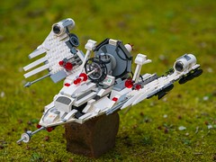 Shot in 2 separate photos with a LUMIX GX-7 and Olympus 75mm F1.8 on tripod.  Background blur in the upper portion was achieved by shooting wide open at F1.8.  Sharpness of the LEGO ship was achieved by shooting at F8. Both photos were merged in Photoshop (jd_wages) Tags: lumix moss lego olympus spaceship f18 75mm
