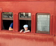 young passenger, Steam Train Sunday, Roma Street Station, Platform 3. (Photos by Lance) Tags: hello people railtravel railpassenger