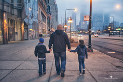 (Rebecca812) Tags: street city family portrait signs chicago man hat fog night walking lights twins dad sister brother candid father sightseeing daughter son jacket cap holdinghands rearview bigcity genuine casualclothing rebecca812