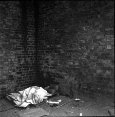 A place to sleep under the railway tracks (RTMoynihan) Tags: poverty white black home diy homeless leeds dev rodinal ilford fp4