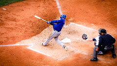 Juan Lagares - Base Hit - Subway Series Game 2 - 4.25.15 - Yankees Stadium (matt_yiu) Tags: new york city nyc subway gold major hit juan baseball stadium bronx center glove series yankees base mets league fielder lagares