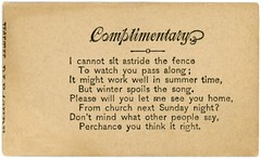 Will You Let Me See You Home From Church? (Alan Mays) Tags: old winter summer men vintage paper cards typography women funny humorous poetry antique humor 19thcentury victorian fences ephemera type poems fonts questions printed typefaces nineteenthcentury parodies rhymes callingcards escortcards visitingcards acquaintancecards flirtationcards seeyouhome
