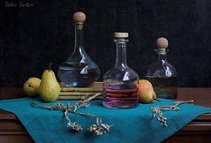 Anesthesia (Esther Spektor - Thanks for 11+ millions views..) Tags: pink blue stilllife food brown reflection glass yellow fruit composition canon stand wooden bottle stem branch wine linen availablelight teal napkin cork stilleben tequila alcohol pear vodka tabletop bodegon naturemorte dryflowers naturamorta naturezamorta anesthesia creativephotography artisticphoto estherspektor