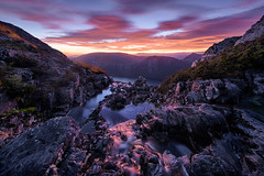 Fire on the Water (hillsee) Tags: light mountains colour sunrise river dawn waterfall stream australia tasmania cradlemountainnationalpark