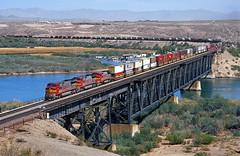 Big bridge, big train. (thrimby2002) Tags: coloradoriver bnsf topock