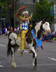 Indian Horse Rider (swong95765) Tags: horse costume indian crowd wave parade rider equestrian headdress