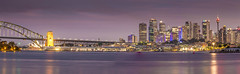 Sydney Pano (Steve W3) Tags: city sunset reflection water cityscape harbour sydney nightsky sydneyharbour sydneyoperahouse