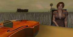 The Far Away 3 (Hunter_Kingsbury) Tags: windmill rural train ginger midwest farm wheat engine redhead violin secondlife fiddle locomotive cowgirl league foreground addams wheatfield farmgirl maitreya amradio izzies thefaraway argrace zikiquesti oracul hunterkingsbury