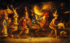 The march of the moon II (Lucerito Corrales) Tags: light moon bird peru yellow cat ronald gallo paint luna rooster pintura companoca