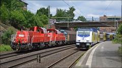 DB Cargo 261 099 + 261 091   Metronom 246 006 (OVNL) Tags: br diesel d hamburg bahnhof db cargo bahn 006 261 dbs deutsche harburg bombardier 091 traxx schenker wagen 246 metronom dbc 099 baureihe dosto gravita voith 10bb