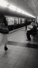 Waiting... (Mrs Bs Photos) Tags: mono londonunderground londontube embankment