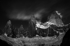 Nocturne | Mount Fitz Roy, Patagonia (v on life) Tags: cerrofitzroy mountfitzroy montefitzroy patagonia argentina blackandwhite bw monochrome night starrynight mountains glacier winter clouds stars elchaltn southernandesmountains longexposure
