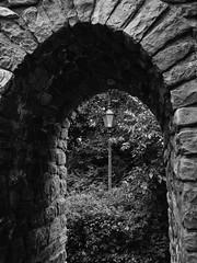 Old Town Passage (WrldVoyagr) Tags: bw brick monochrome germany de deutschland lumix streetlamp panasonic passage altstadt badenwrttemberg ladenburg gm5