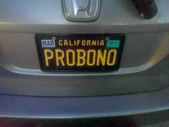 PRO BONO license plate, Los Angeles, California, USA (gruntzooki) Tags: california ca usa car cali la losangeles automotive licenseplate cal license law lax lawyers lawyer numberplate probono probonopublico