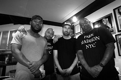 Life is About Progression (BW) (Brotha Kristufar) Tags: wide angle canon indoor indoors studio engine room podcast discussion central park 5 santana nyc new york harlem brooklyn bronx uptown hood real men entertainment moguls brothers from another monochrome group shot portraits madison clothing premium pete miss lissa knows tax taxstone season recording taping filming for cultural purposes