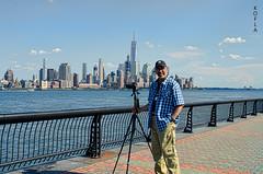 Selfie - Manhattan Skyline (Kofla Olivieri) Tags: hoboken newjersey newyorkcity manhattan koflaolivieri nikond7000 downtown oneworldtradecenter freedomtower adobephotoshopelements topazadjust waterfront boardwalk walkway nyc selfie