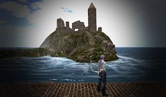 Reflection (ReignShadow) Tags: secondlife waves castle ruins tail sea ocean reflection
