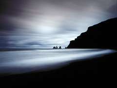 Shades of Time (tsiklonaut) Tags: ocean travel sea cliff seascape color 120 film rock contrast analog landscape island iceland long exposure fuji time pentax drum scanner north surreal wave slide dia scan atlantic vik arctic chrome shade experience roll fujifilm medium format dreamy balance positive analogue 6x7 northern provia e6 67 67ii hunt analogica discover 6x drumscan analoog pmt 400x maastik rxp photomultipliertube