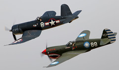 Corsair and Kittyhawk (CanvasWings) Tags: canon airplane aircraft aviation airplanes aeroplane airshow planes corsair warbirds kittyhawk warbird aeroplanes omaka classicfighters cf15 canvaswings