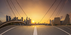 Tangerine Sunset (rh89) Tags: city roof light sunset red panorama orange sun sunlight art yellow skyline museum architecture marina evening bay wire singapore warm soft glow cityscape angle pano sony 4 wide science panoramic 100mm stop filter wires lee nd 12 fe sands filters grad graduated density mbs stops asm neutral 1635 1635mm gnd artscience a7r