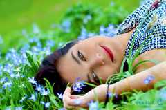 Flowery Pillow (ArnaudCartuyvels) Tags: flowers blue people green beautiful beauty female portraits photography photo model nikon oxford shooting portuguese flowery photoshooting worcestercollege bestportraitsaoi