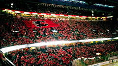 Calgary Flames C of Red (Samsung Note 4) (I am a potato) Tags: red canada game calgary hockey vancouver 1 photo saddledome phone 04 flag flames crowd arena note alberta 19 canucks playoff 2015 cofred
