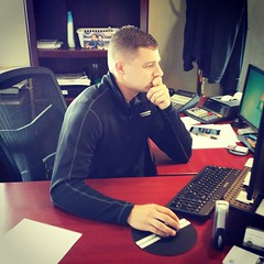 General Manager Chad Probst of Vorderman Volkswagen hard at work! #vordermanvw Chad also manages the North Store Vorderman Motor Werks #vordermanmw @chadp04 #vw #volkswagen #fortwayne #usedcars #newcars #autosales #cloudradix (reg.vorderman) Tags: volkswagen vorderman vordermanvolkswagen httpvordermanvolkswagencom