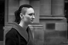Stark (Leanne Boulton) Tags: life street city uk light shadow portrait people urban blackandwhite bw woman white black detail texture girl monochrome face look fashion contrast canon hair 50mm mono scotland living blackwhite eyes looking natural emotion humanity outdoor expression glasgow candid character profile culture streetphotography style streetlife scene depthoffield human shade portraiture 7d feeling stark staring society tone facial candidportrait candidstreetphotography