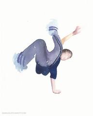 'A sudden change in direction' #twist  #painting #Bboy #watercolors #contemporaryart #dance #artwork #art #hiphop #figure #bboying #breakin #nycart #nyc (Emanuele Pavarotti) Tags: new york usa instagram iphone4s