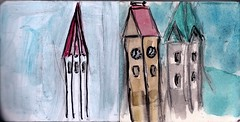 wie vielfltig das Land doch ist: Trme in Oberbayern (raumoberbayern) Tags: city winter bus fall pencil paper munich mnchen landscape herbst tram sketchbook stadt papier landschaft bleistift robbbilder skizzenbuch strasenbahn