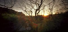 Castles of memory and light (Zeb Andrews) Tags: sunset film mediumformat holga edinburgh europe edinburghcastle pano pinhole lensless analogphotography goldenhour oldworld 6x12 holgawpc