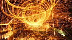 Eye sore tunnel vision (warpig corp) Tags: bridge orange wool wales spiral experimental guineapigs brian spin tunnel spinning pete glowing sparkler sparks conwy tunnelvision eyesore dolwyddelan steelwool wirewool testsubjects wirewoolspinning warpigcorp